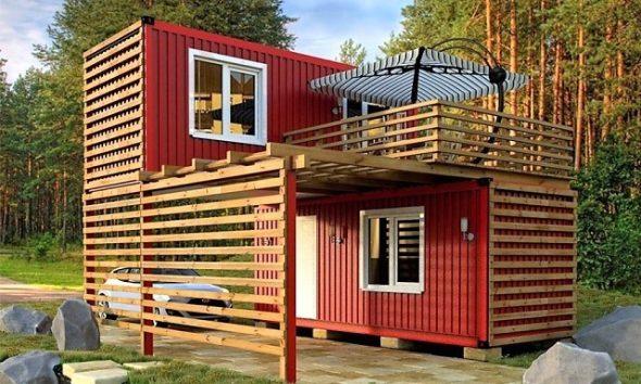 Дом из контейнеров с деревянной обрешеткой
