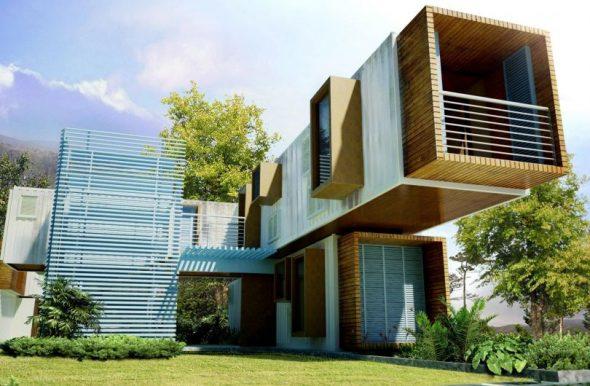Дом, построенный из контейнеров