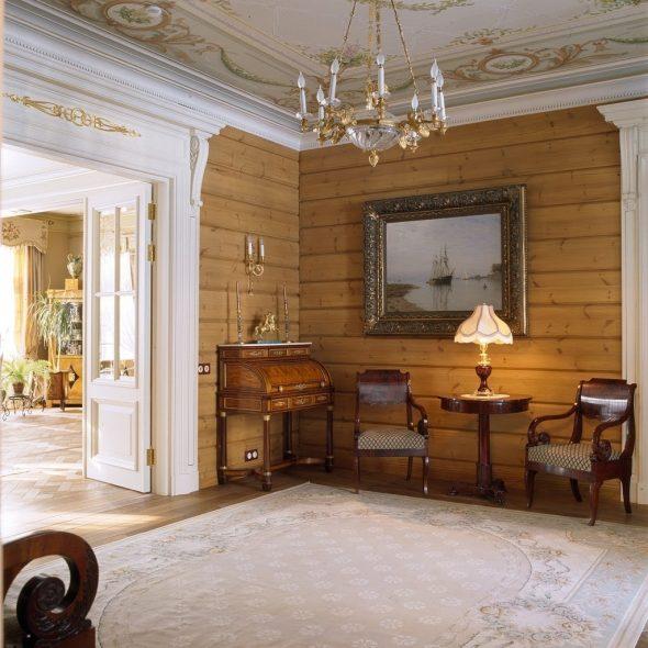Интерьер загородного дома в стиле русской усадьбы