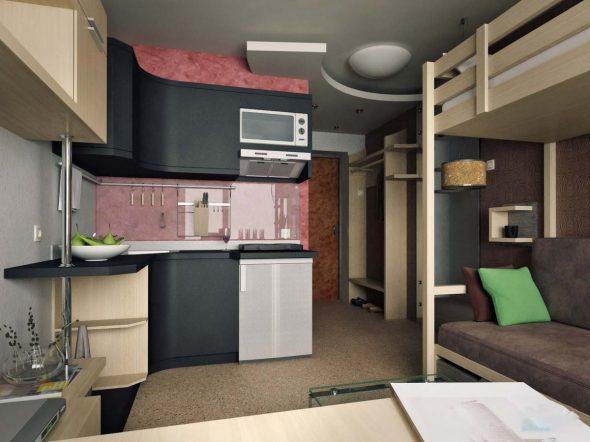 Дизайн-проект однокомнатной квартиры 18 кв. м