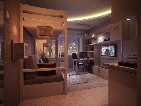 Дизайн квартиры площадью 18 кв. м
