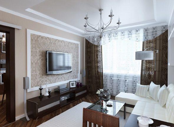 Дизайн гостиной в двухкомнатной квартире 60 кв м