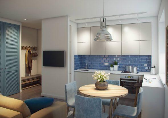 Дизайн кухни в двухкомнатной квартире 60 кв м