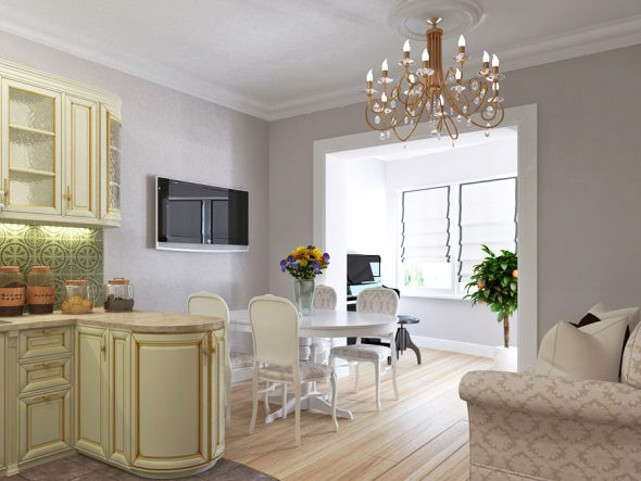 Дизайн кухни-гостиной в двухкомнатной квартире 60 кв м