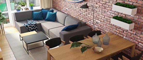 Дизайн квартиры с кирпичной стеной