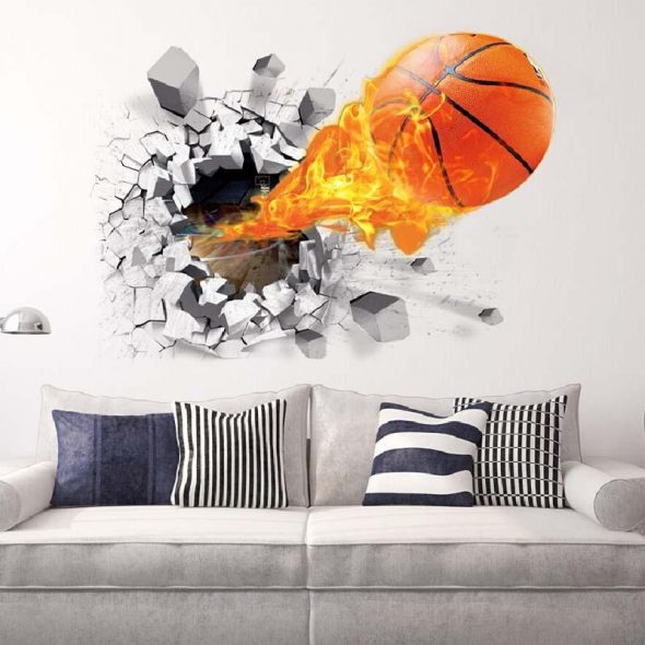 наклейка на стену баскетбольный мяч