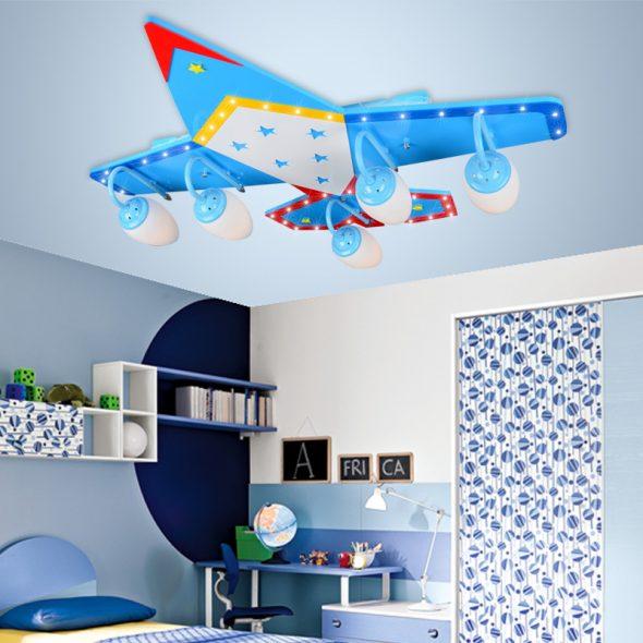 люстра в виде самолёта для детской