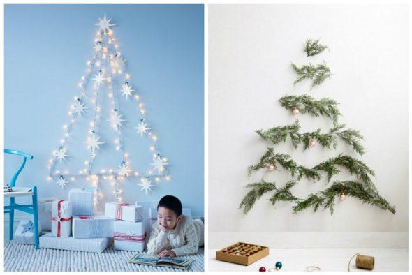 Идеи новогодних елок из гирлянд и еловых веток на стенах