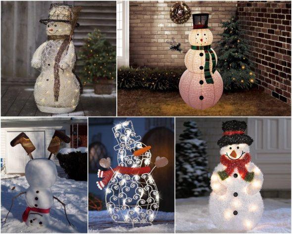 Новогодние снеговики со светодиодами