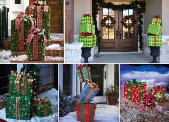 Варианты новогодних композиций с подарочными коробками