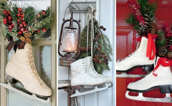 Идеи новогодних композий для украшения двери