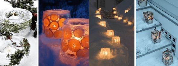 Подсвечники изо льда к Новому году