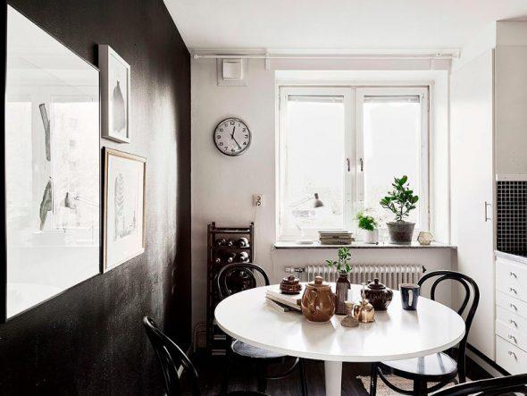 Дизайн чёрно-белой кухни