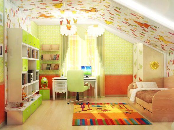 Детская комната в мансардном помещении