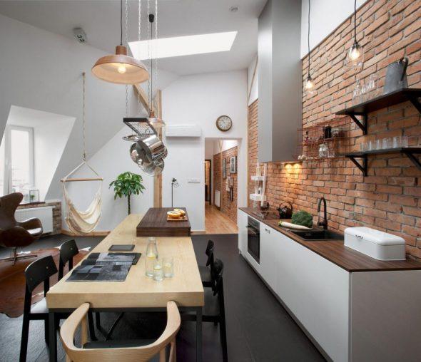 Зона кухни в студии 25 кв м