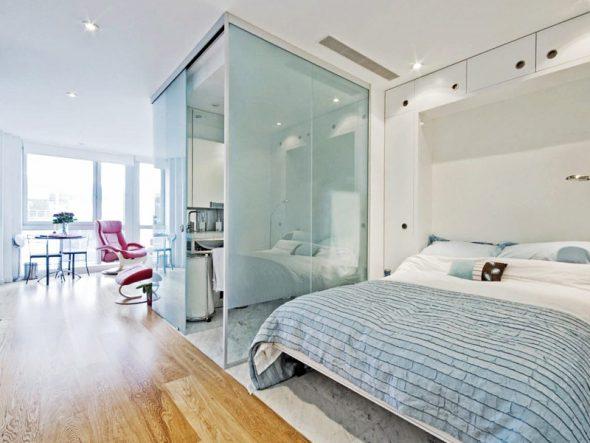 встроенная спальня в студии 25 кв м
