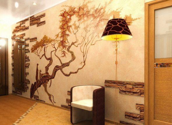 Покрытие стены обоями и декоративным камнем