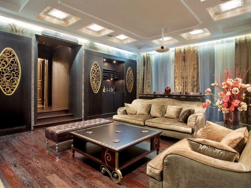 Интерьер гостиной в стиле неоклассика  —  подборка фото