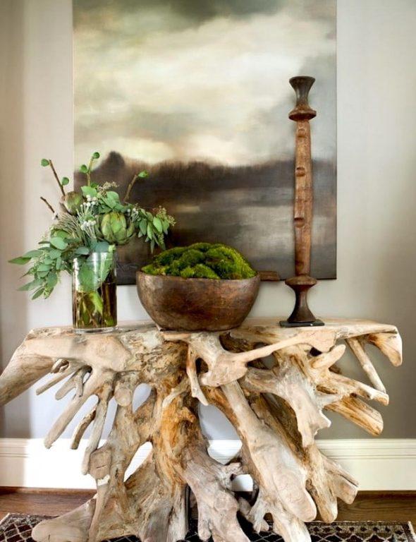 Консоль из обработанного корня дерева
