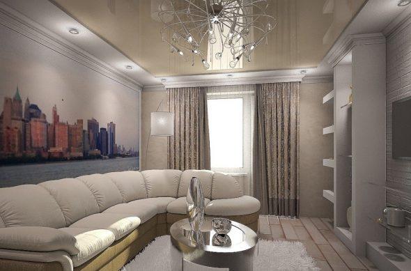 Люстра в интерьере комнаты 18 кв. м
