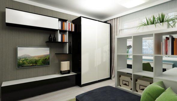 Зонирование пространства в гостиной 18 кв. м
