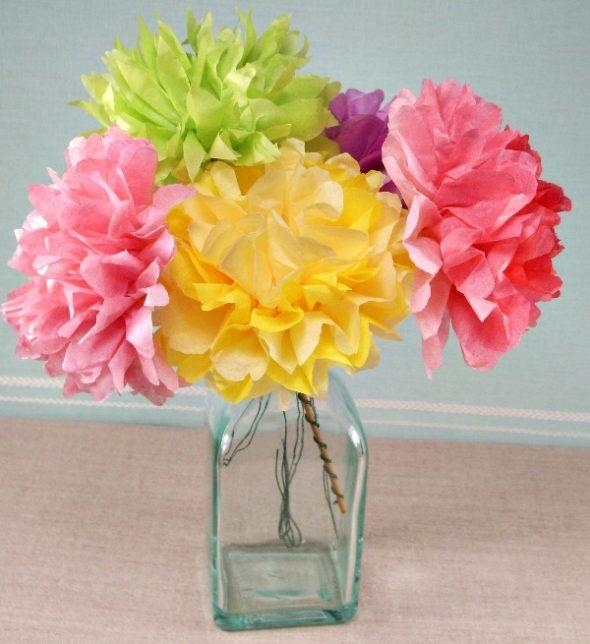 Цветы из салфеток