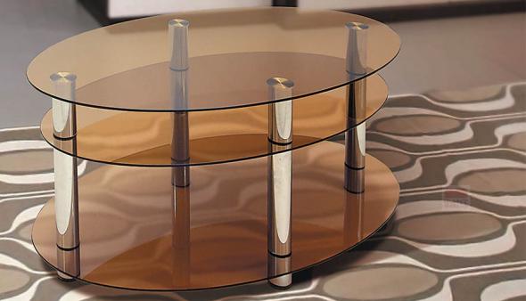 Овальный стеклянный журнальный столик