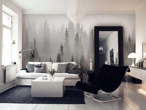 Фотообои в гостиной
