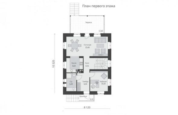 План первого этажа дома 8х10