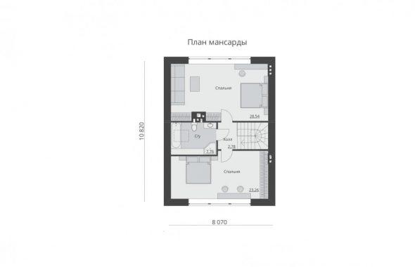 Отличная планировка мансарды дома 8х10