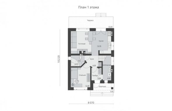Планировка первого этажа частного дома 8х10