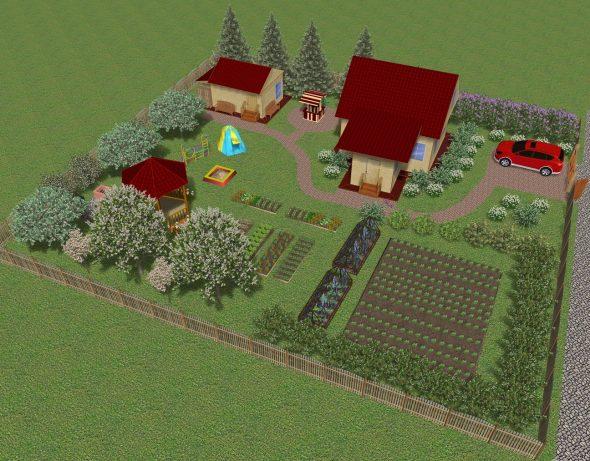 Территория с детской площадкой и огородом