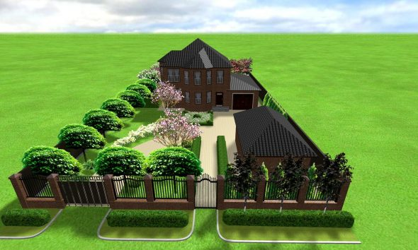Участок с домом и деревьями