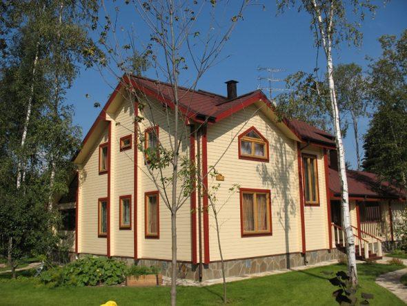 Светлый дом с контрастными элементами