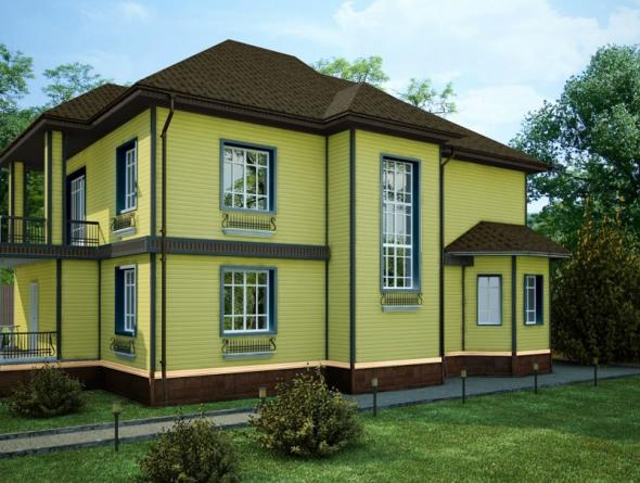 Деревянный дом в салатовом цвете