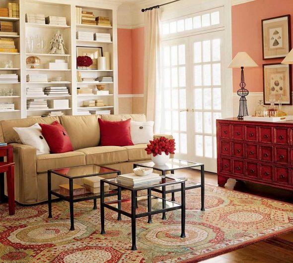 Персиковый цвет в сочетании с красным