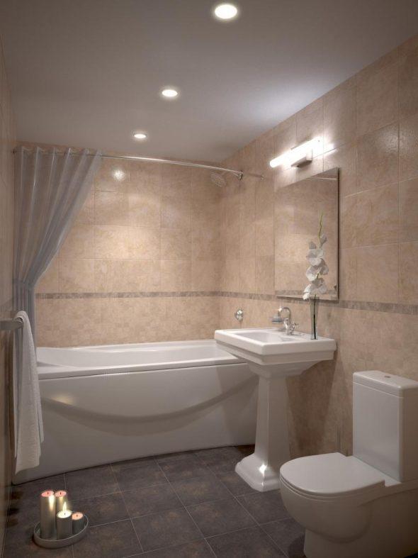 Встроенные светильники в дизайне ванной комнаты