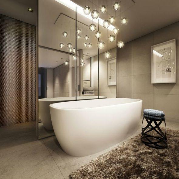 Уникальные светильники для интерьера ванной комнаты
