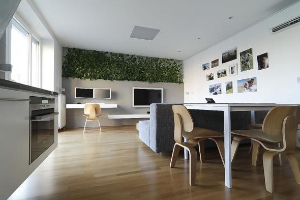 Горизонтальная полоса растений на стене