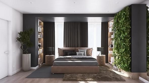 Вертикальный сад в спальне
