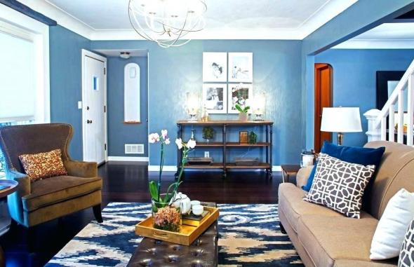 Стены голубого цвета