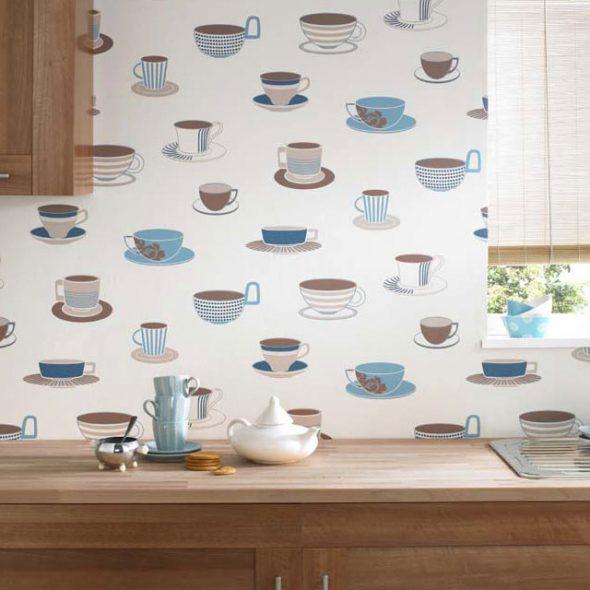 Обои с изображением чашек на кухне