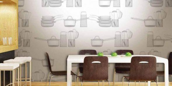 Обои с изображением посуды на стене в кухне