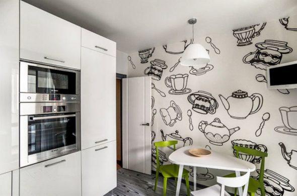 Чёрно-белые обои с изображением посуды на кухне