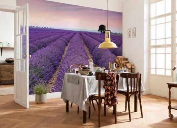 Фотообои с изображением лавандового поля на кухне