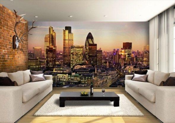 Фотообои с видом ночного города в гостиной
