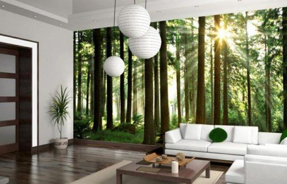 Фотообои с изображением леса в гостиной