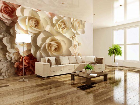 Фотообои с изображением больших бумажных цветов в гостиной