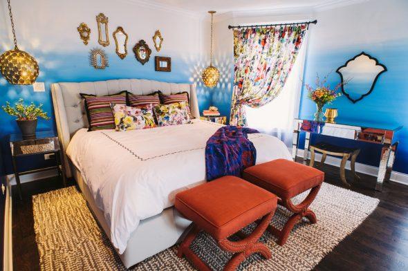 Разные цвета в интерьере спальни