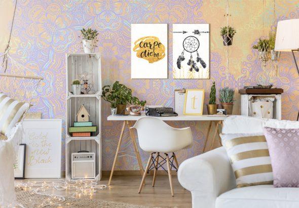 Картины и растения в интерьере